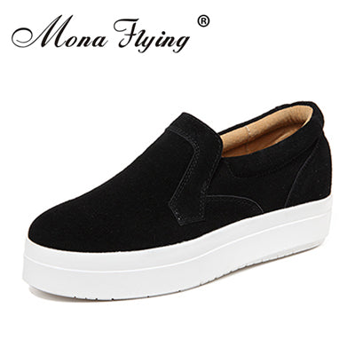 women flat platform loafers shoes leather casual shoes