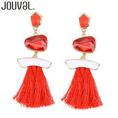 Women Fringe Drop Earrings Crystal Boho Tassel Dangle Earrings Statement Women Wedding Jewelry