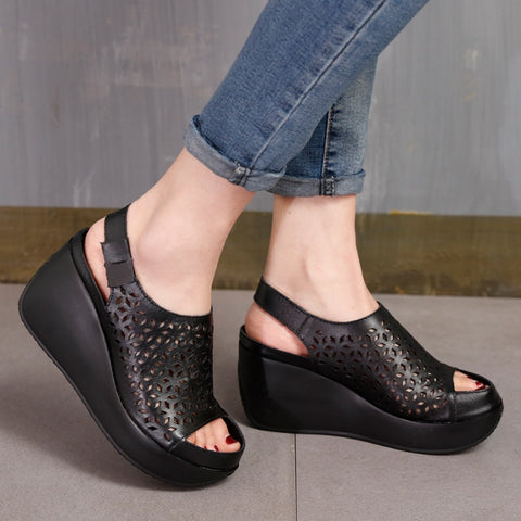 Women Leather Sandals High Heels Wedge Summer Peep Toe Embroidery Genuine Leather Soft Shoes