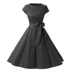 Women New Retro Vintage Polka Dots Short Sleeve Summer Rockabilly Swing Party Dress