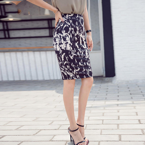Women Pencil Skirt Knitted High Waist OL Midi Skirt Bodycon Autumn Winter Stretch Tight Skirts