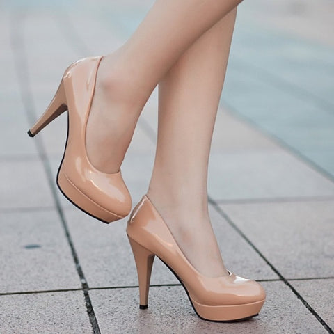 Women Pumps Classic Patent Leather High Heels Shoes Nude Sharp Head Wedding Shoes