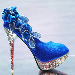 Pumps Rhinestone Flower Platform Wedding Shoes High Heels Slip On Bridal Stiletto Party Shoes