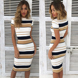 Red Summer Dress Sheath Striped Beach Dress O-Neck Elegant Party Dresses Short Sleeve Plus Size