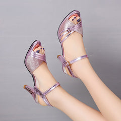 Women Sandals Summer Shoes Bling Wedding Silver High Heels Pumps Shoes