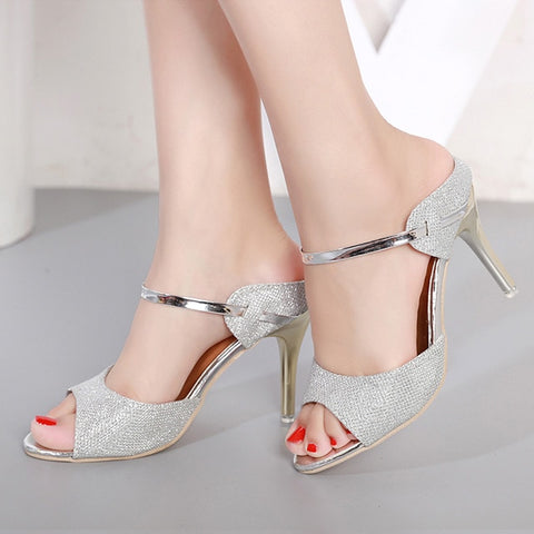 Women Sandals High Heels Shoes Summer Sandals Peep Toe Slingback Pumps