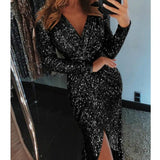 Women Sexy Clubwear Winter Sequined Shine High Split Girl Evening Party Dress