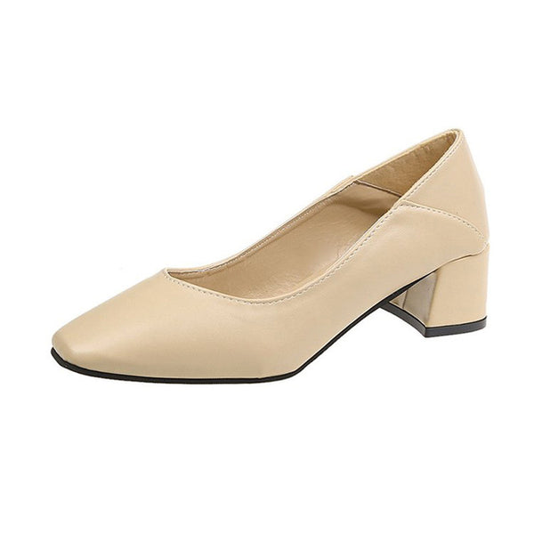 Women Spring Square High Heels Shoes Classic Slip On Casual Square Toe Soft PU Leather Pump