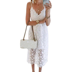 Women White Lace Femme Sexy Spaghetti Strap Backless V-neck Party Dress