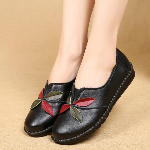Women Flat Shoes Spring/autumn Genuine Leather Casual Soft Comfortable Mother Shoes