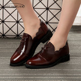 Women Genuine Leather Brogue Oxford Shoes Brown Simple Vintage Retro Casual Flat Shoes