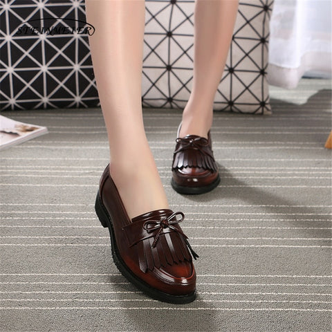 Women Genuine Leather Brogue Oxford Shoes Tassel Bow Simple Vintage Retro Casual Black Flat Shoes