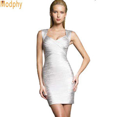 Women Gold Silver Foil Bandage Dress Backless Lady Tank V-neck Mini Cocktail Party Bodycon Dresses