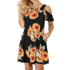 Casual Off Shoulder Dress Short Sleeve Flower Print  Loose Summer Mini Beach Dresses