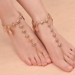 Women's Beach Barefoot Sandal Coin Tassel Anklet Chain Multilayer Coin Anklet Foot Jewelry