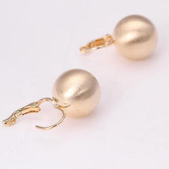 Women Hook Earring Retro Style Shining Gold Ball Shape Stud Earrings Jewelry Women Studs Gift