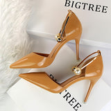 Women Summer High Heels Wedding  Air Black Pump Top Mature Solid Leather Shoes