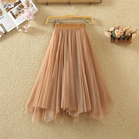 Irregular Double-layer Mesh Tulle Skirt Pleated Mesh Bubble Skirt High Waist Ball Gown
