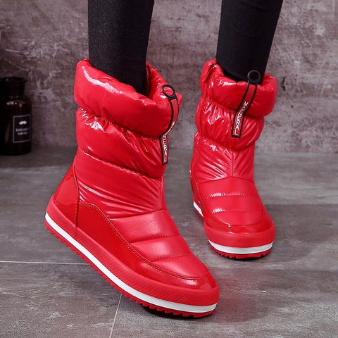 zipper winter boots waterproof  velvet warm shoes