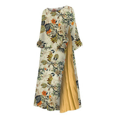 Women Maxi Beach Dress Summer Half Sleeve Casual Boho Kaftan Tunic Ethnic Floral Dresses