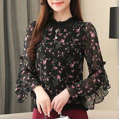 Womens Tops Blouses Spring Casual Chiffon Floral Print Stand Collar Long Sleeve Tops