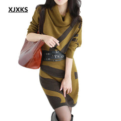 Autumn Winter Women Dresses Long Sleeve Knit Sweater Dress Turtleneck Slim Waist Hip Dresses