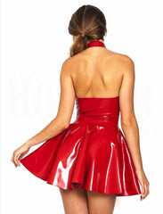 Leather Latex Dress Red Shiny Halter Sleeveless Catsuit Bandage Pleated Dress Clubwear Costume