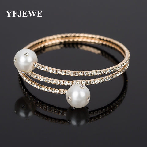 L Exquisite Classic Pearl Full Rhinestone Adjustable Hand Ring Bracelet Accessories