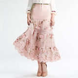 YIGELILA Brand Latest New Women Pink High Waist Lace Embroidery Maxi Skirt