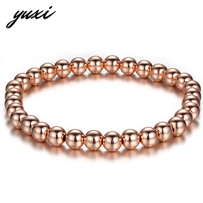 Simple Beads Women Men Bracelet Rose Gold Silver Black Elastic Beaded Bracelet Jewelry