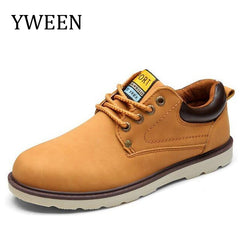 Casual Shoes Men Spring Autumn Waterproof Solid Lace-up Flat PU Leather Shoes