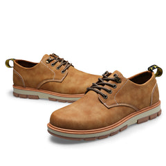 Men's Casual Shoes Man Leather Worker Shoes Autumn Round Head Shoes