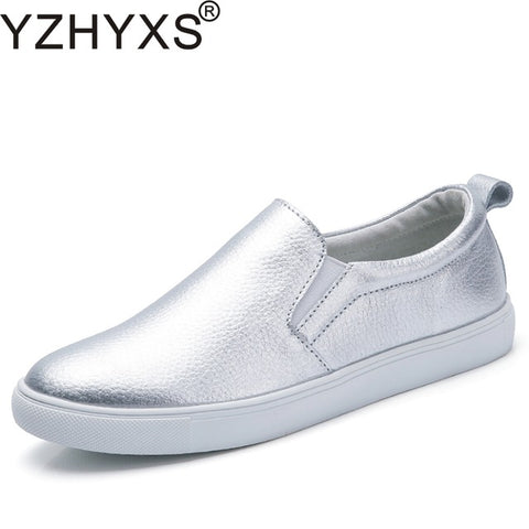 Women Shoes Autumn Loafers Silver Flats Casual Shoes Genuine Cow Leather Slip On Walking Shoes