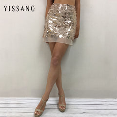 Summer Sequins Lace Female Elegant High Waist Pack Hip Nightclub Skirt
