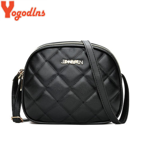 Leather Messenger Women Bag Shoulder Black Plaid Lattice Small Crossbody Bags Handbag