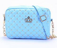 Women Bag Messenger Rivet Chain Shoulder High PU Leather Crossbody Quil Crown Bags