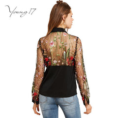 Young17 Summer Tops Black Flower Embroidered Bow See-Through Patchwork Vintage Women Party Blouse