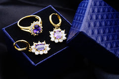 Yunkingdom Wedding Jewelry Sets Gold Color Zircon Crystal Earrings for Women Crystal Rings