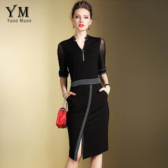 Women Elegant Office Dress Front Split OL Work Dress European Black Red Pencil Dresses