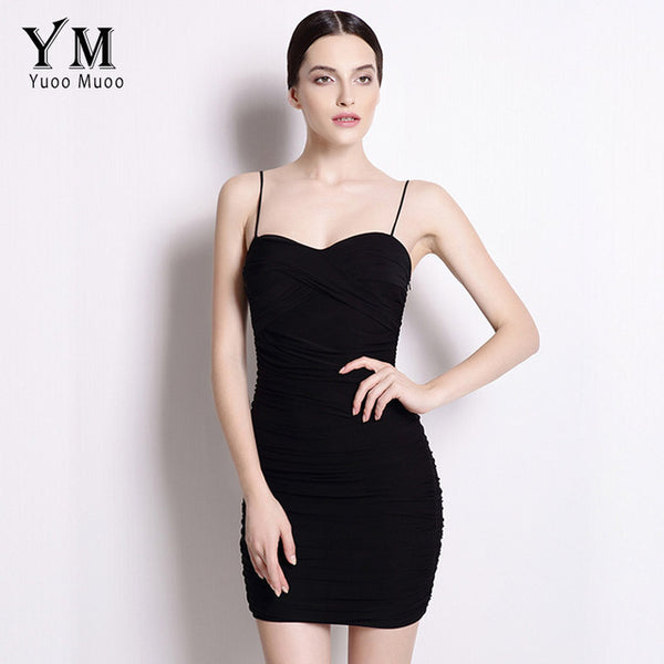 YuooMuoo Bodycon Dress Women Little Black Dress Spaghetti Strap Club Mini Dress Sundress