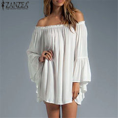 ZANZEA Casual Loose Dress Sexy Slash Neck Off Shoulder Flare Sleeve Plus Size Dresses