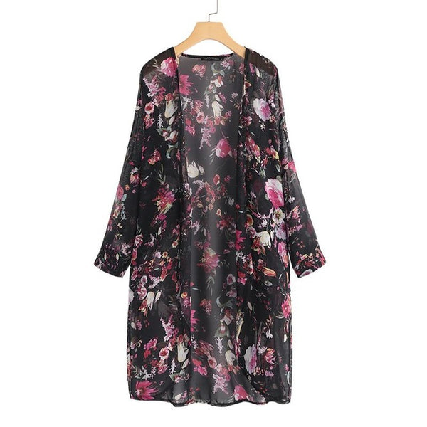 Summer Bohemian Printed Kimono Women Floral Tops Chiffon Blouse Cardigans Beach Cover Up