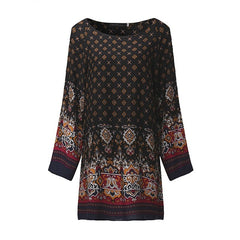 Women Mini Vintage Print Dress O Neck Long Sleeve Floral Casual Ethnic Short Vestidos