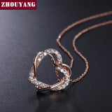 ZHOUYANG Heart Rose Gold Color Pendant Necklace Jewelry Austria Crystal