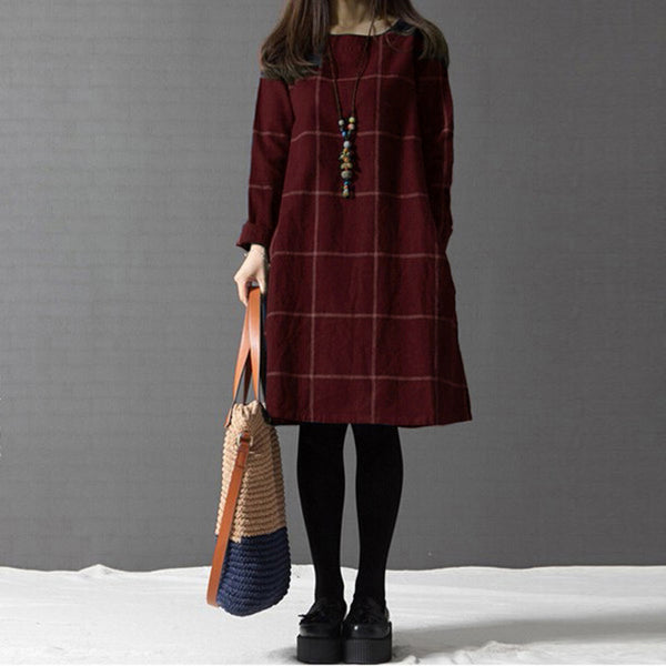 Vestidos Women Plaid Dress Autumn Winter Long Sleeve Cotton Linen Knee-length Casual Dresses