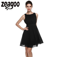 Zeagoo Dress Summer Chiffon Sleeveless Draped Flare Fit Party Dresses Party Casual Summer Dress