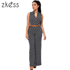 Zkess Long Pants Rompers Sleeveless V-neck Belt Solid Night Club Slim Jumpsuits Overalls