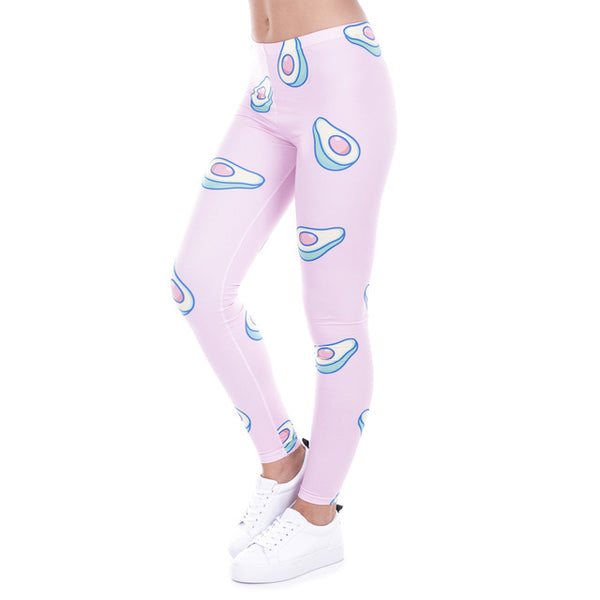 Zohra Printed Women Leggings Avocado Pink Leggings Sexy Slim Leggings High Waist Pants