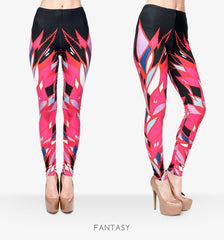 Zohra Women Colour Geometry Printing Legging High Elastic Fitness Legging Trousers Pants