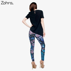 Zohra Night Owl Full Printing Pants Women Fitness Legging Stretchy Trousers Skinny Leggings